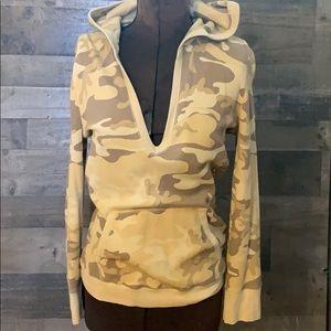 RAPLH LAUREN camo hoodie waffle knit tan brown M